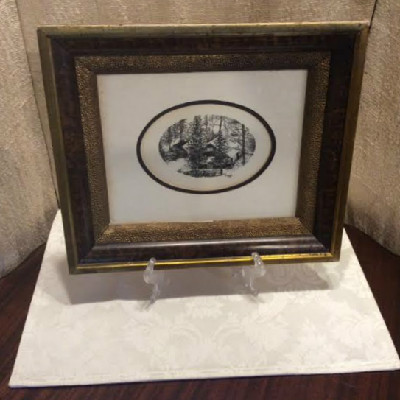 Victorian Wood Shadow Box Picture Frame w/ Pen & Ink Engraving by B. Weiss