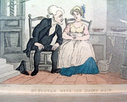 "Early 1800's - Thomas Rowlandson - Hand Coloured Engraving Titled - ""Dr. Syntax And The Dairy Maid"""