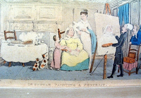 "Early 1800's - Thomas Rowlandson - Hand Coloured Engraving Titled - ""Dr. Syntax Painting A Portrait"""