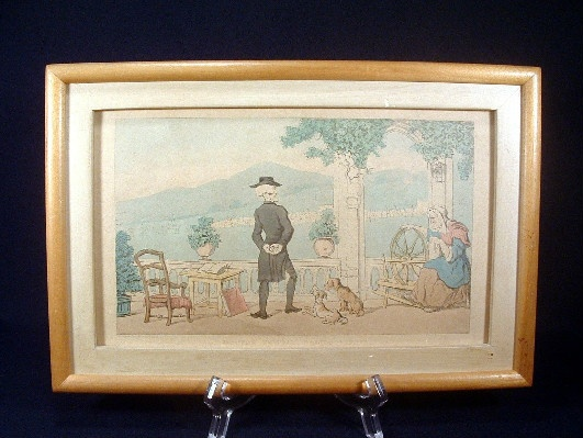 "Early 1800's - Thomas Rowlandson - Hand Coloured Engraving Titled - ""Dr. Syntax Soliloquising"""