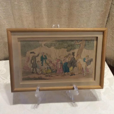 "Early 1800's - Thomas Rowlandson - Hand Coloured Engraving Titled - ""Dr. Syntax & The Gypsies"""