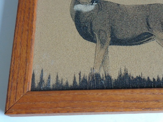 Navajo - Native American Sand Painting - Framed - Signed - Deer - Buck - c. 1990 - #1