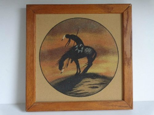 Navajo - Native American Sand Painting - Framed - Signed - End Of Trail - c. 1990 - #2