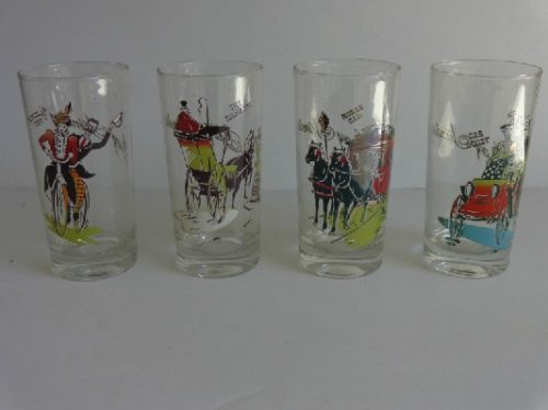 Anchor Hocking - Glass GAY NINETIES Tumblers - Complete Original Box Set - Scarce & Hard To Find