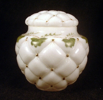 Tufted Pillow - White Milk Glass - Hand Painted Cookie Jar - Vintage 1940s