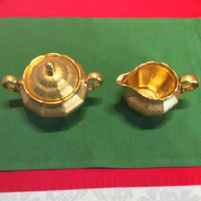 Gold Encrusted Sugar & Creamer - Rose & Daisy Pattern - Arzberg Porcelain Factory - Bavaria