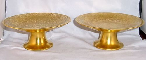 A Rare Pair! - Antique 1894 Pickard Gold Encrusted Compotes - Rose & Daisy Pattern - Hand Marked
