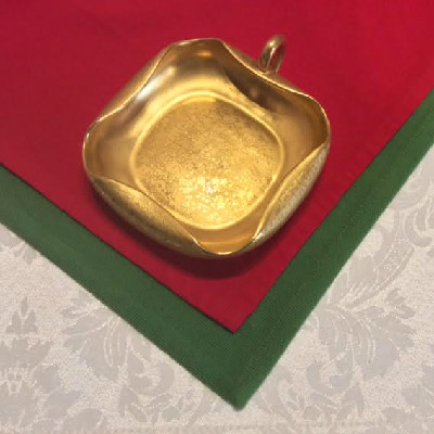 22KT Gold Encrusted - Handled Nappy- Candy Dish w/ Art Deco Rolled Rim - Signed Osborne