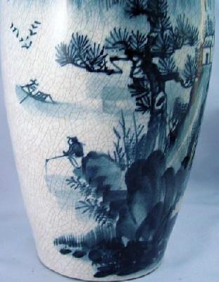 Japanese - Crackle Glaze Vase - Hand Painted Blue Scenic Landscape - Vintage!