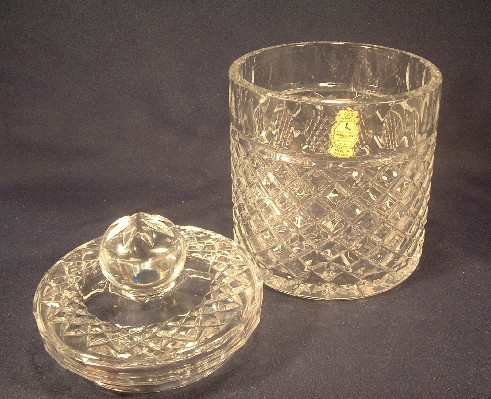 Hand Cut Lead Crystal Glass Lidded Biscuit / Candy Jar - Imperlux - Poland