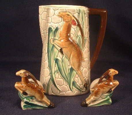Leaping Gazelle Pitcher and Salt & Pepper - L. Batlin & Son Majolica Art Pottery