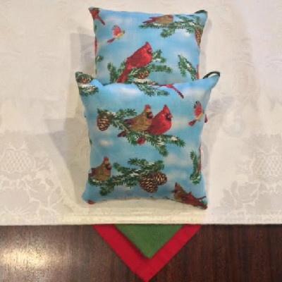 """Cardinals Pillow - 5"""" x 5"""" Balsam Pillow"""