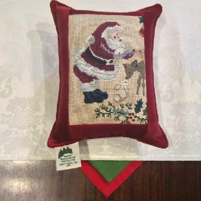 """Santa Tapestry w/ Deer - 6"""" x 8"""" Balsam Pillow"""