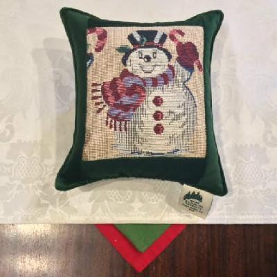 """Snowman Tapestry Green- 7""""x7"""" Balsam Pillow"""