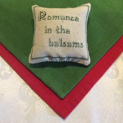 "Romance In The Balsams – 4"" x 4"" Balsam Pillow –"