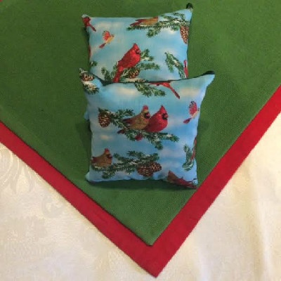 "Cardinals Pillow - 5"" x 5"" Balsam Pillow"