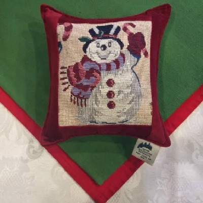 "Snowman Tapestry Red - 7"" x 7"" Balsam Pillow"