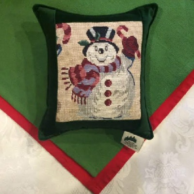 "Snowman Tapestry Green- 7""x7"" Balsam Pillow"