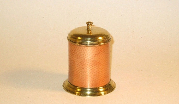 Antique Copper & Brass Salt Box - Cannister