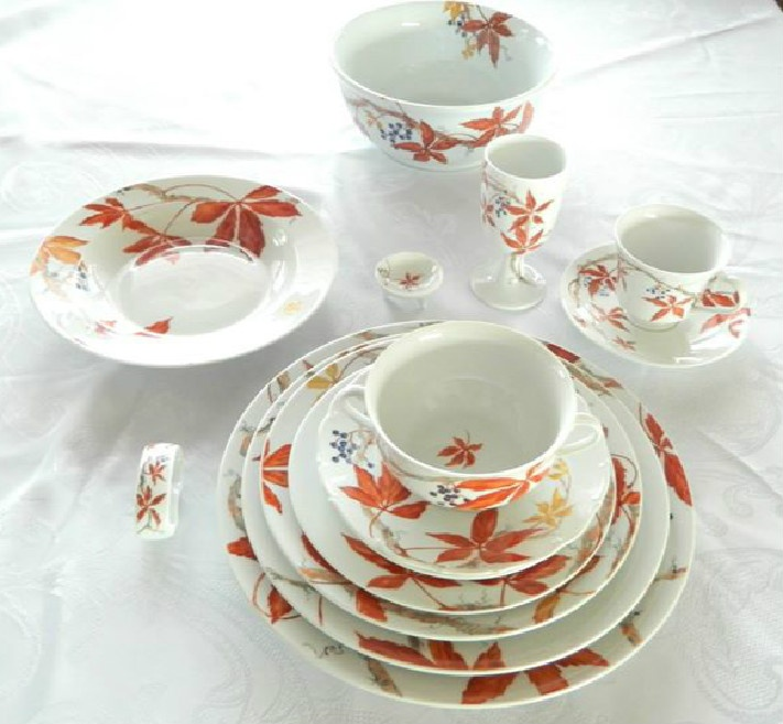 Porcelain Woodbine Place Setting In The Style of Celia Thaxter