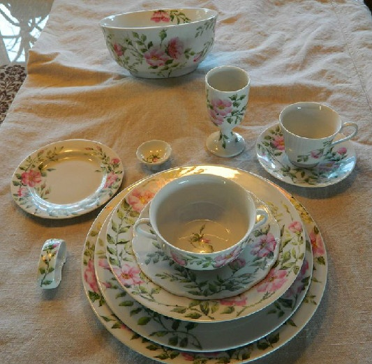 Porcelain Rosa Rugosa Place Setting In The Style of Celia Thaxter