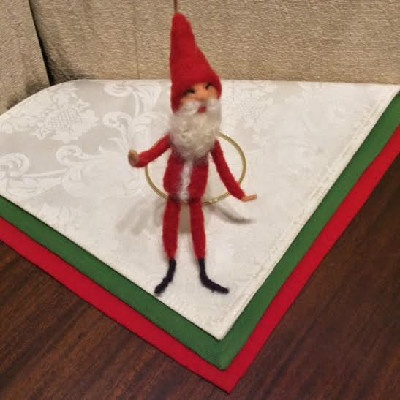 Santa #1 , Short Beard — $25 - Felted Wool Ornament