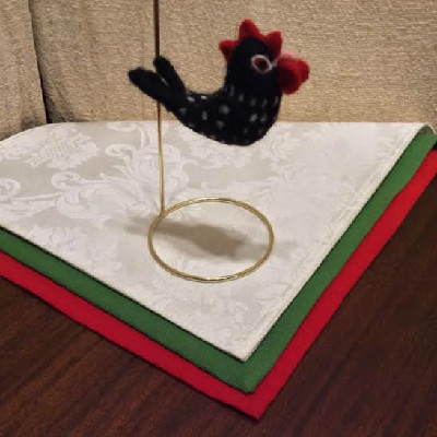 Hen, Black Speckled — $28 - Felted Wool Ornament