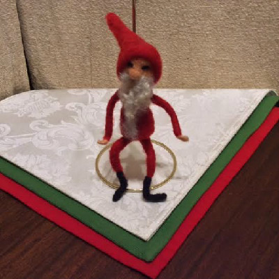 Santa #2 , Long Beard — $25 - Felted Wool Ornament