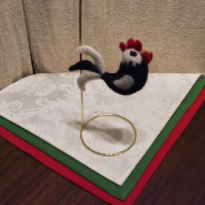 Rooster, Black & White — $28 - Felted Wool Ornament