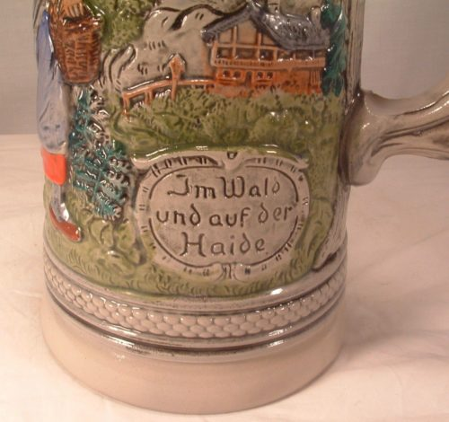 "Vintage Made In West Germany - Stoneware - Large 11"" Tall - Lidded Beer Stein"