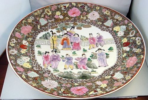 Magnificent!! - Very Large - Vintage Chinese Hand-Painted Charger - Wall Plate - Low Bowl