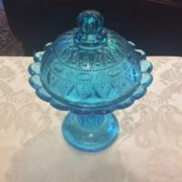 Blue Glass - Dewdrop & Lace Pattern - Tall Lidded Candy Dish