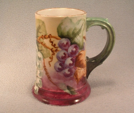 Bavarian Rosenthal China - Hand Painted - Grapes Decorated - Mug / Stein - Vintage