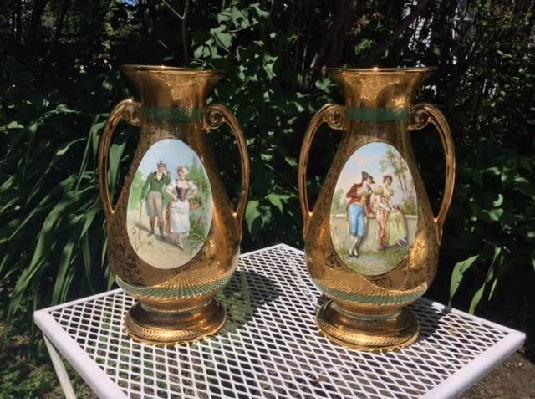 "Pair Of Vintage 1940's LeMieux China - 24 Karat Gold -Hand Decorated - Courtship Scene - 14"" Tall Vases"