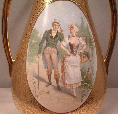 """Pair Of Vintage 1940's LeMieux China - 24 Karat Gold -Hand Decorated - Courtship Scene - 14"""" Tall Vases"""