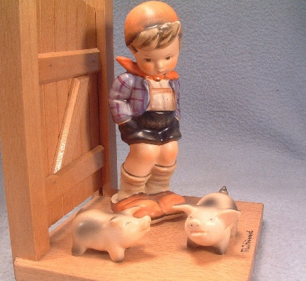 Pair - Hummel - Goebel Book Ends - Farm Boy & Goose Girl - Vintage