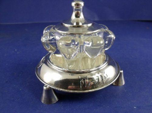 Jewish - Sterling Jam / Honey Pot w/ High Quality French Glass Insert - Judiaca