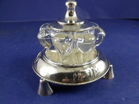 Jewish - Sterling Jam / Honey Pot w/ High Quality French Glass Insert - Judiaca