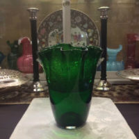 Large Forest Green Glass Handkerchief Vase - Vintage Murano Art Glass