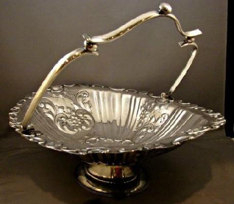 Gorgeous - Antique - Repousse - Silver Plate Pedestal Oval Handled Basket