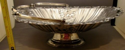 Gorgeous - Antique - Repousse - Silver Plate Pedestal Oval Handled Basket