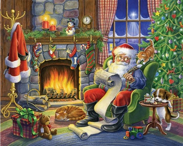 """1.) – Naughty or Nice – Santa makes the final """"Naughty or Nice"""" decision before embarking on his annual journey. (550 pieces and measures 24? x 18?)"""