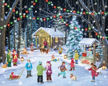 7.) – Woodland Skaters – Friends and family skate and frolic under the lights in this traditional holiday scene. (1000 pieces and measures 30? x 24?)
