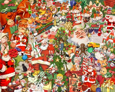 3.) – Vintage Christmas – A great puzzle collage that will bring back memories of Christmas past. (1000 pieces and measures 30? x 24?)