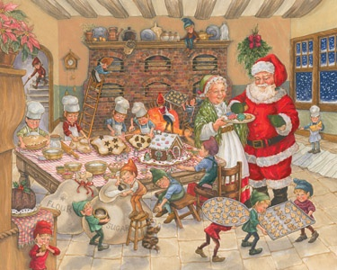 8.) – Santa's Kitchen – Mrs. Claus and the elves prepare Santa's favorite food: cookies! (1000 pieces and measures 30? x 24?)