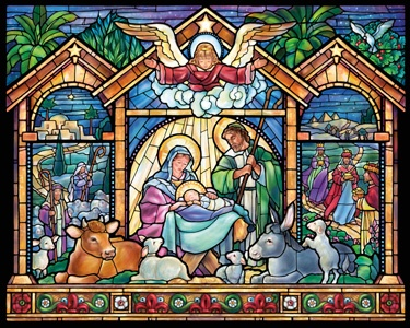 6.) – Stained Glass Nativity – A spectacular rendition of the traditional Nativity scene presented in stained glass. (1000 pieces and measures 30? x 24?)