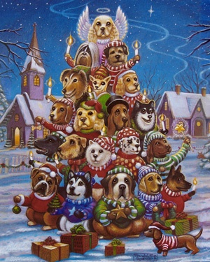 17.) – Canine Christmas Tree – Can you spot all of the different dog breeds in this fun Christmas puzzle? Perfect for any dog lover. (1000 pieces and measures 30? x 24?)