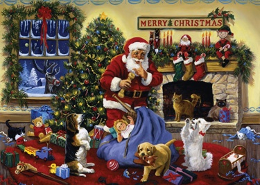 3.) - Santa's Beggars - Inside: Wishing you a fabulously furry Christmas filled with toys and treats for all! (Linda Picken)