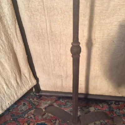 18th c. - Candlestand - Wrought Iron Floor Style w/ Penny Feet - Adjustable Double Candle Sockets