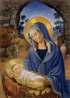 "11.) - Mary with Child - Inside: May your heart rejoice in the greatest gift of all this Christmas season. ""Behold, the virgin shall be with child and bear a son, and they shall name him Emmanuel,"" which means ""God is with us."" (Matthew 1:23) (Ruth Sanderson)"